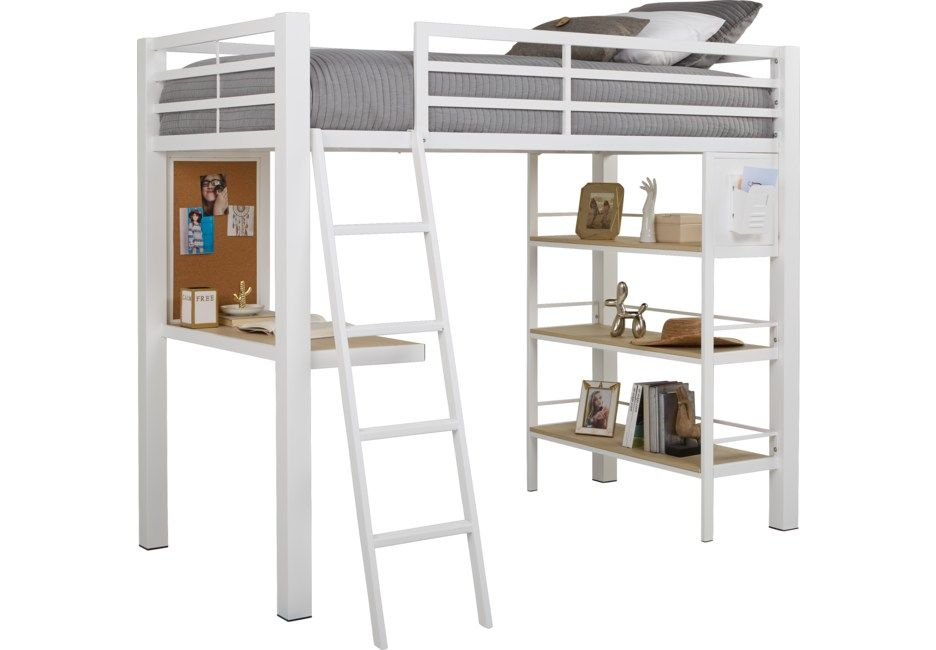 Colefax Avenue White Full Loft Bed With Desk And Bookcase Full Beds Colors Twin Loft Bed Bed Desk Loft Bed