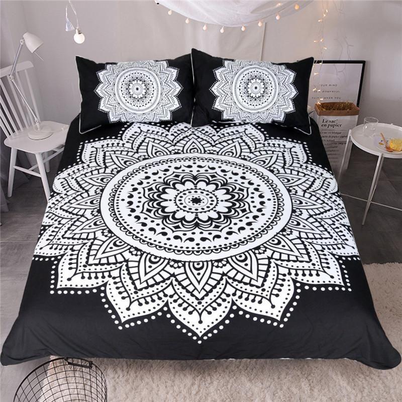 Black White Floral Mandala 3d Customize Bedding Set Duvet Cover Setbedroom Set Bedlinen In 2021 White Bed Set Queen Bedding Sets Black Duvet Cover