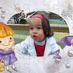 Personnalisez votre puzzle avec petite fille et papillon avec votre photo, votre texte