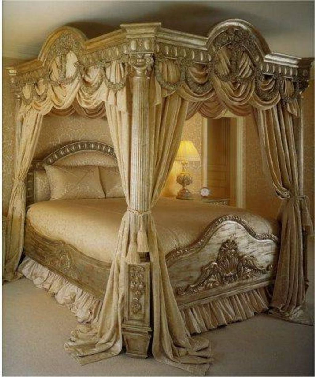 Antique Furniture Hand Carved King Or Queen Bed Of Solid Wood With Gold Leafs Decors From A Castle Distinctive For Its Traditional Properties