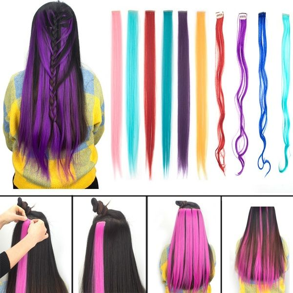 23 Colors Available Long Curly Wavy Highlight Hair Clip In Hair Extensions 1 Pieces In 2020 Colored Hair Extensions Hair Extensions Hair Highlights