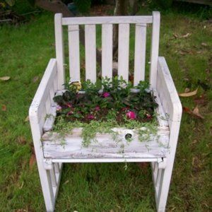Old Chairs For Garden Planters   Making a Chair Planter   ThriftyFun