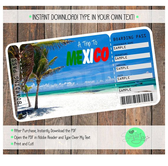 Printable Ticket To Mexico Boarding Pass Customizable Boarding