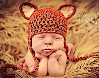 Newborn Photo Prop Baby Fox Hat