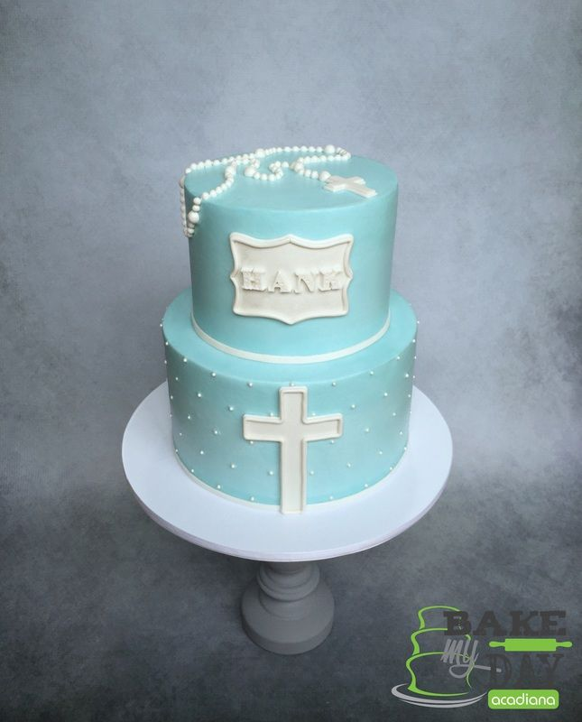 Simple And Elegant Buttercream Baptism Cake For A Baby Boy Cross