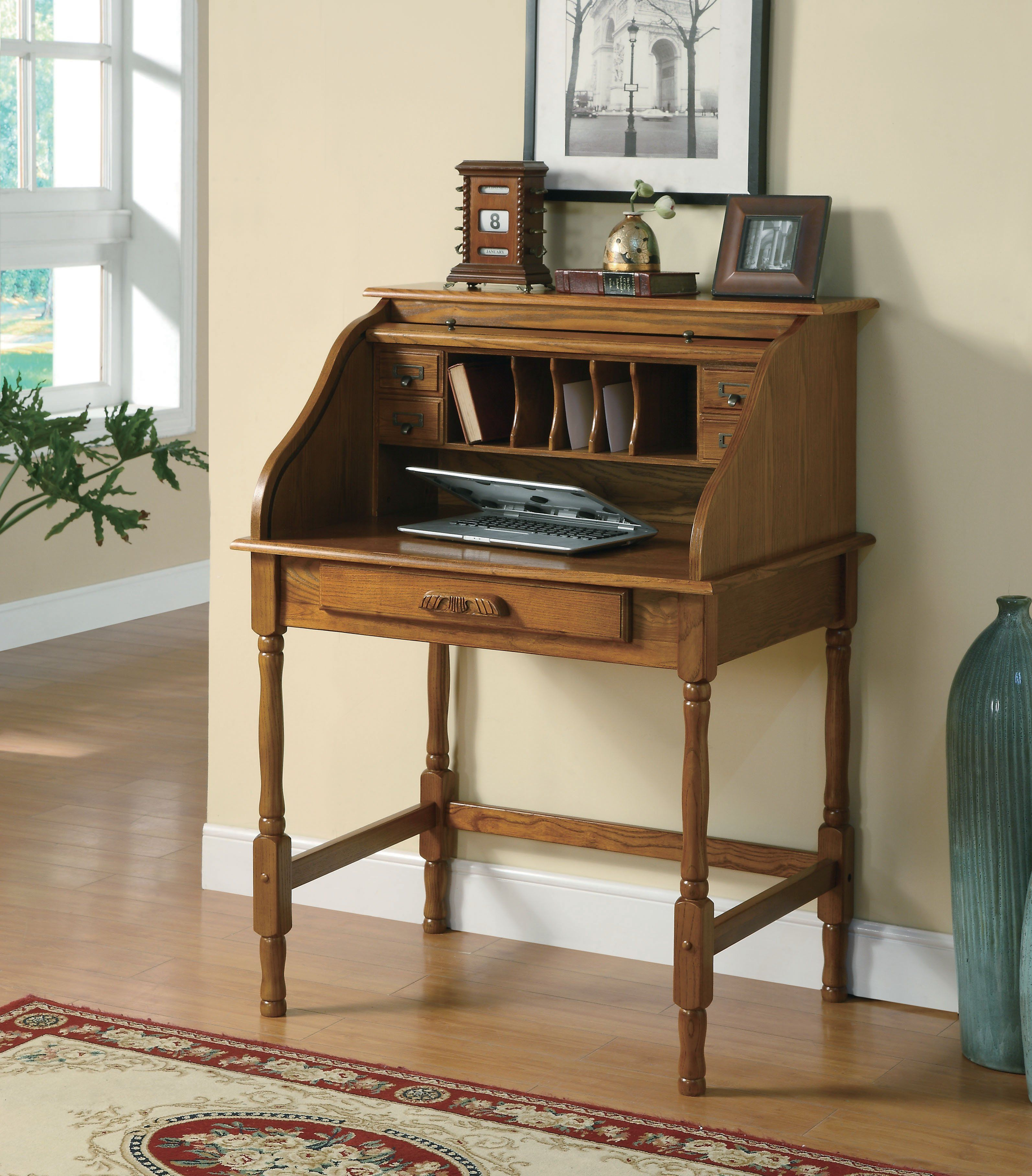 Coaster Palmetto Small Roll Top Secretary Desk Coaster Furniture