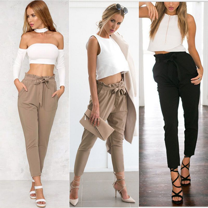 3b84561de Womens Fashion Stretch High Waist Jogger Leggings Loose Casual Pants  Trousers