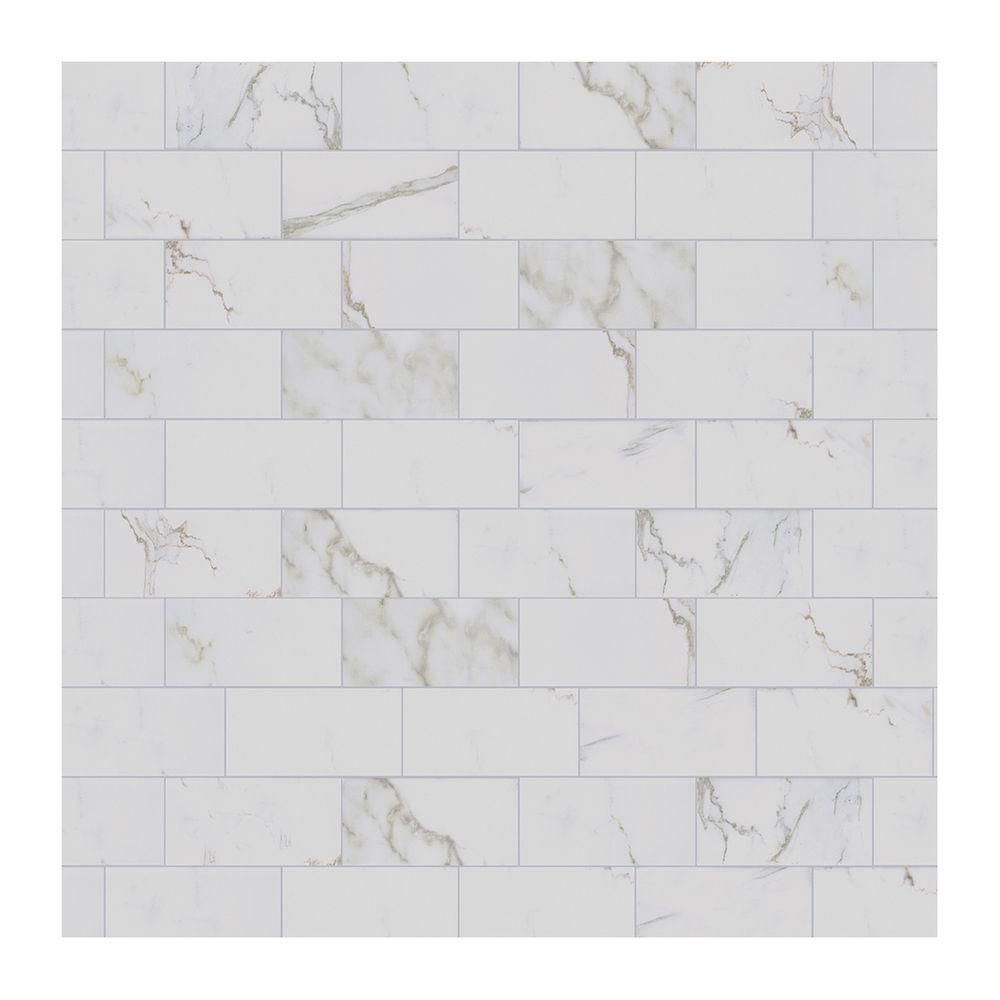 Allen roth glazed wall chocolate ceramic bullnose trim common 1 - Marazzi Developed By Nature Calacatta 3 In X 6 In Glazed Ceramic Wall Tile 12 Sq Ft Case