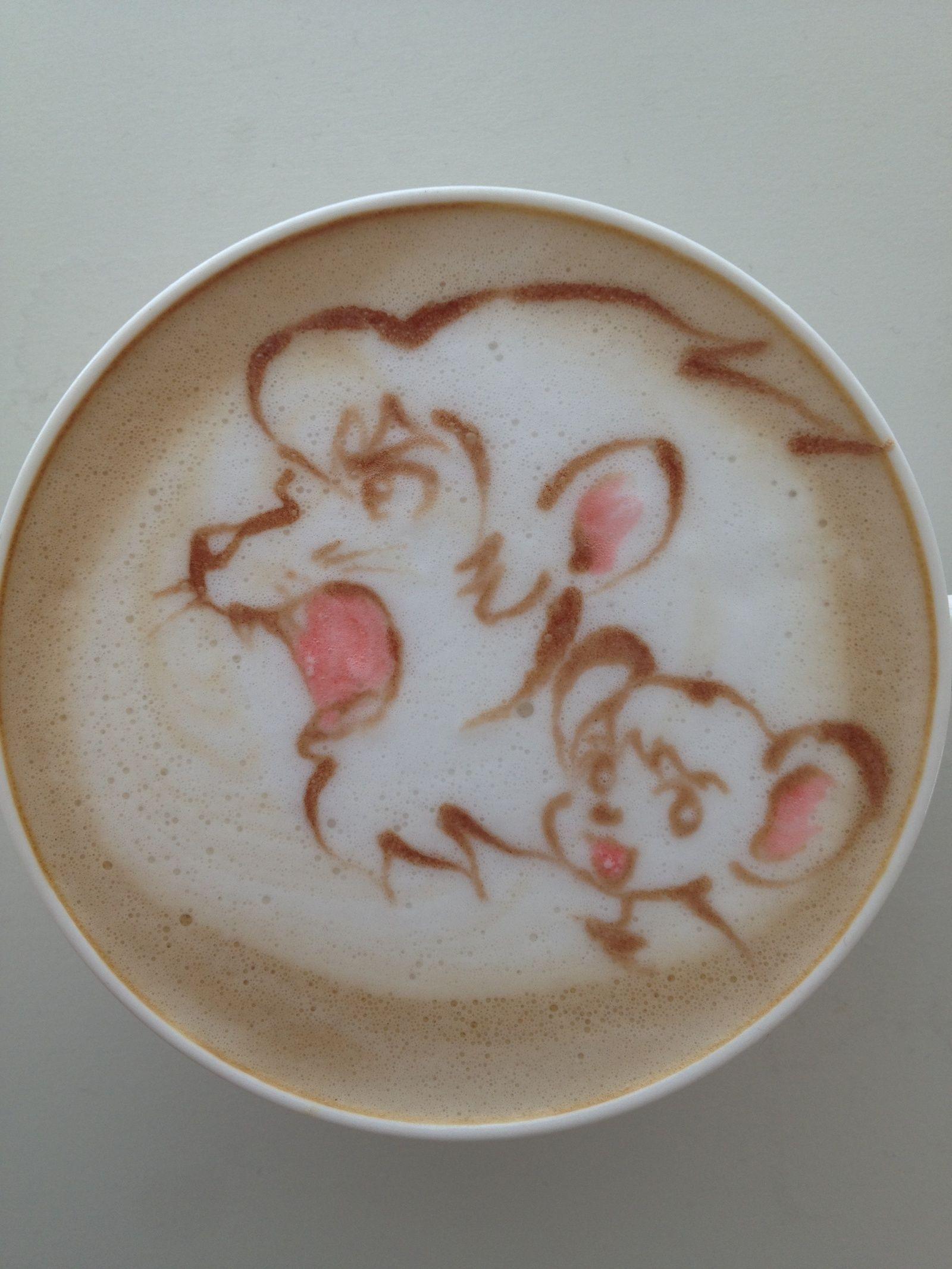 Kimba the white lion latte art coffee art coffee latte art