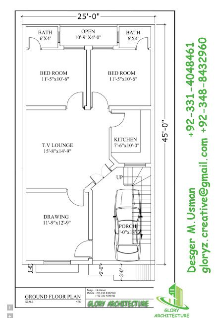 Pin by Muhammad Usman on 25x45 house plan elevation drawings map ...