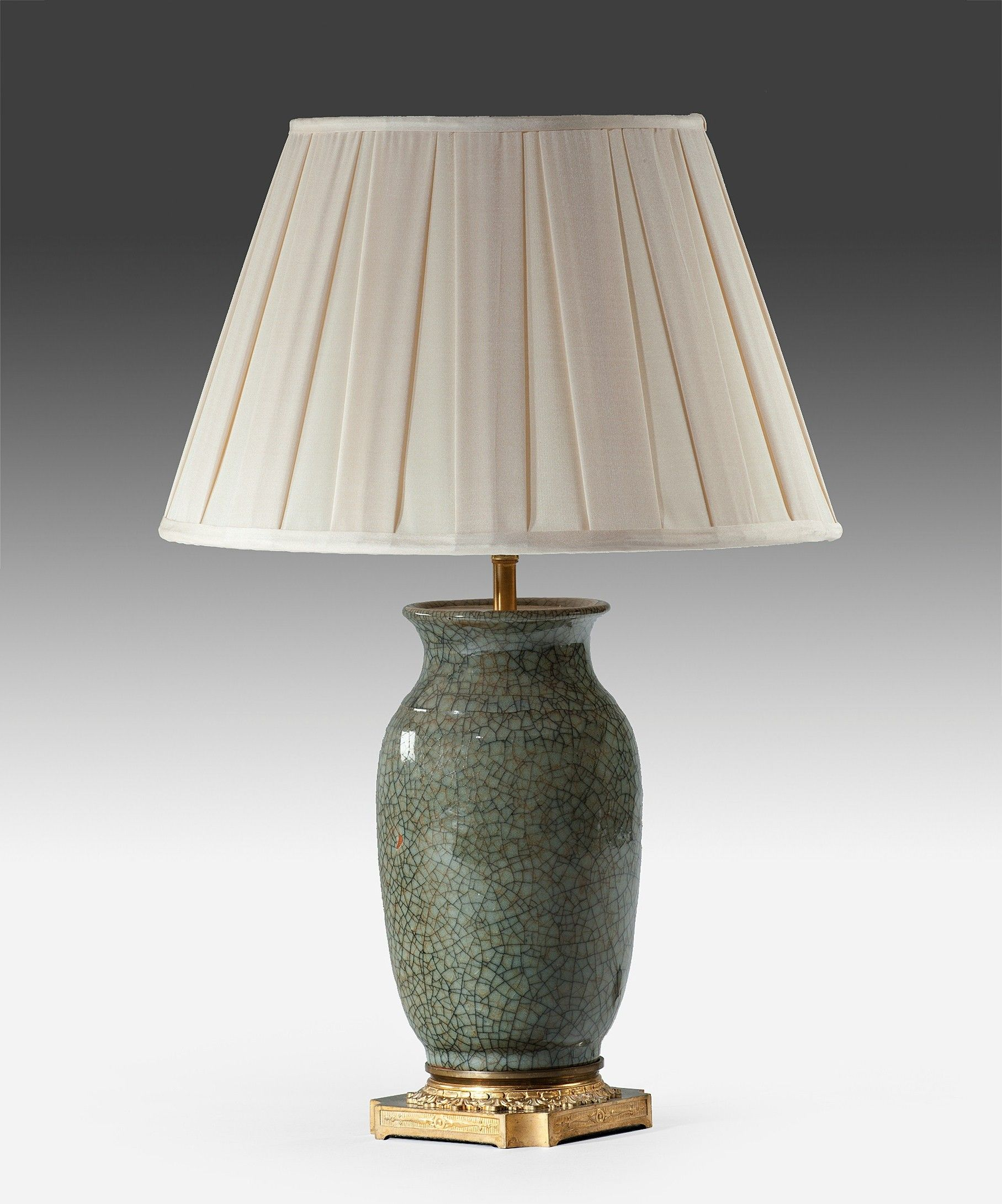 A Chinese celadon table lamp. A Nineteenth Century Chinese ...