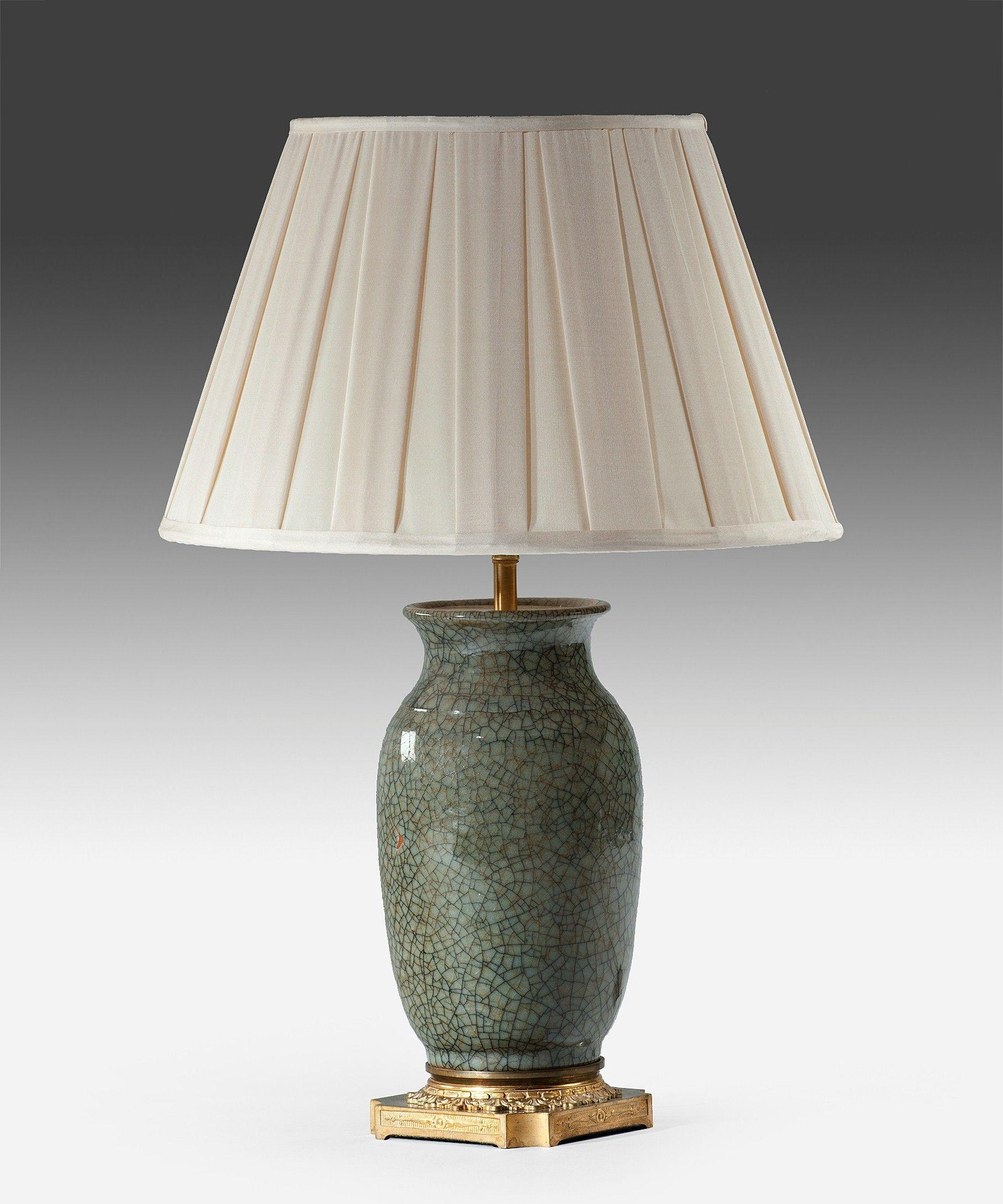 A Chinese Celadon Table Lamp. U003cpu003eA Nineteenth Century Chinese Celadon Vase  Converted