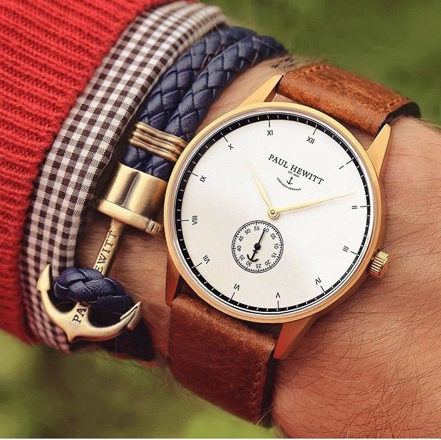 Camel color hand watch ⌚ navy blue bracelet for special look and smar  casual wear men style