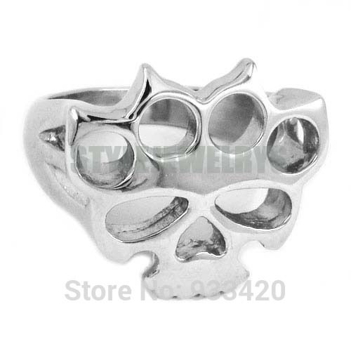 Silver Knuckles Boxing Glove Skull Ring Stainless Steel Jewelry
