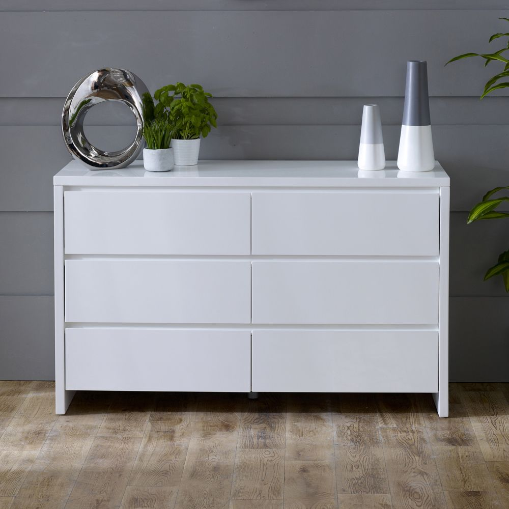 White High Gloss 6 Drawer Wide Chest Of Drawers White Gloss
