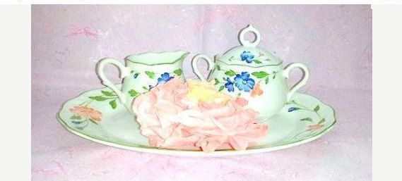 Vintage  Creamer and Sugar Set withTray, 4 PC Set,  Nikko Deauville Provencial Designs, Made in Japan, Blue, Pink, Flowers by JunkYardBlonde on Etsy