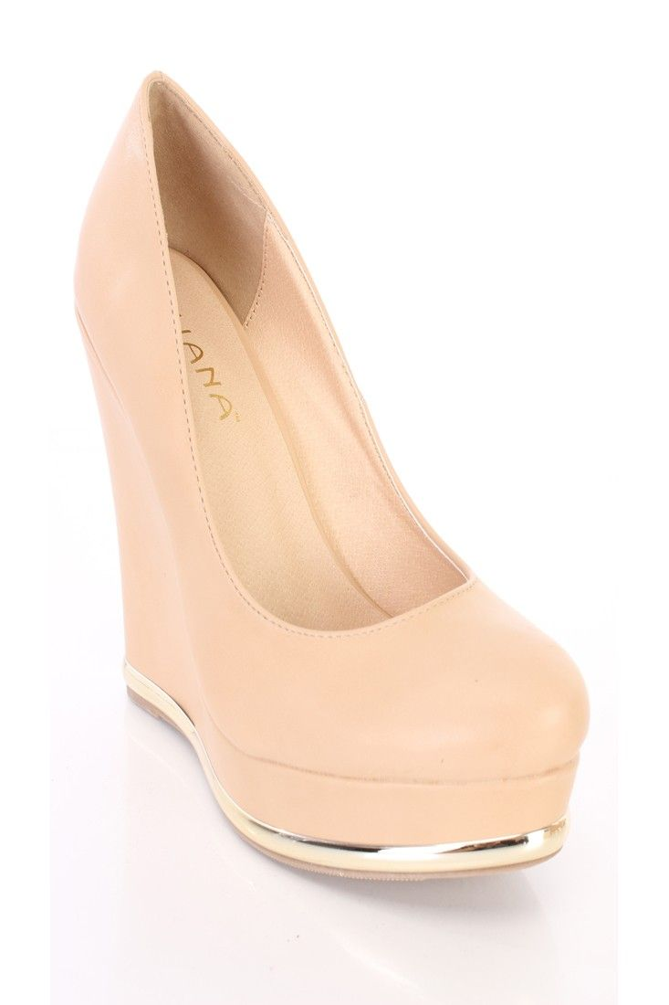 a5f137cc78b6 Nude Round Closed Toe Platform Wedges Faux Leather