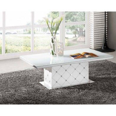 Table De Salon Blanche Design Et Strass Table Basse Design