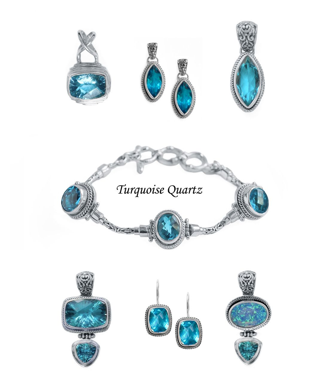 Turquoise quartz and sterling silver jewelry