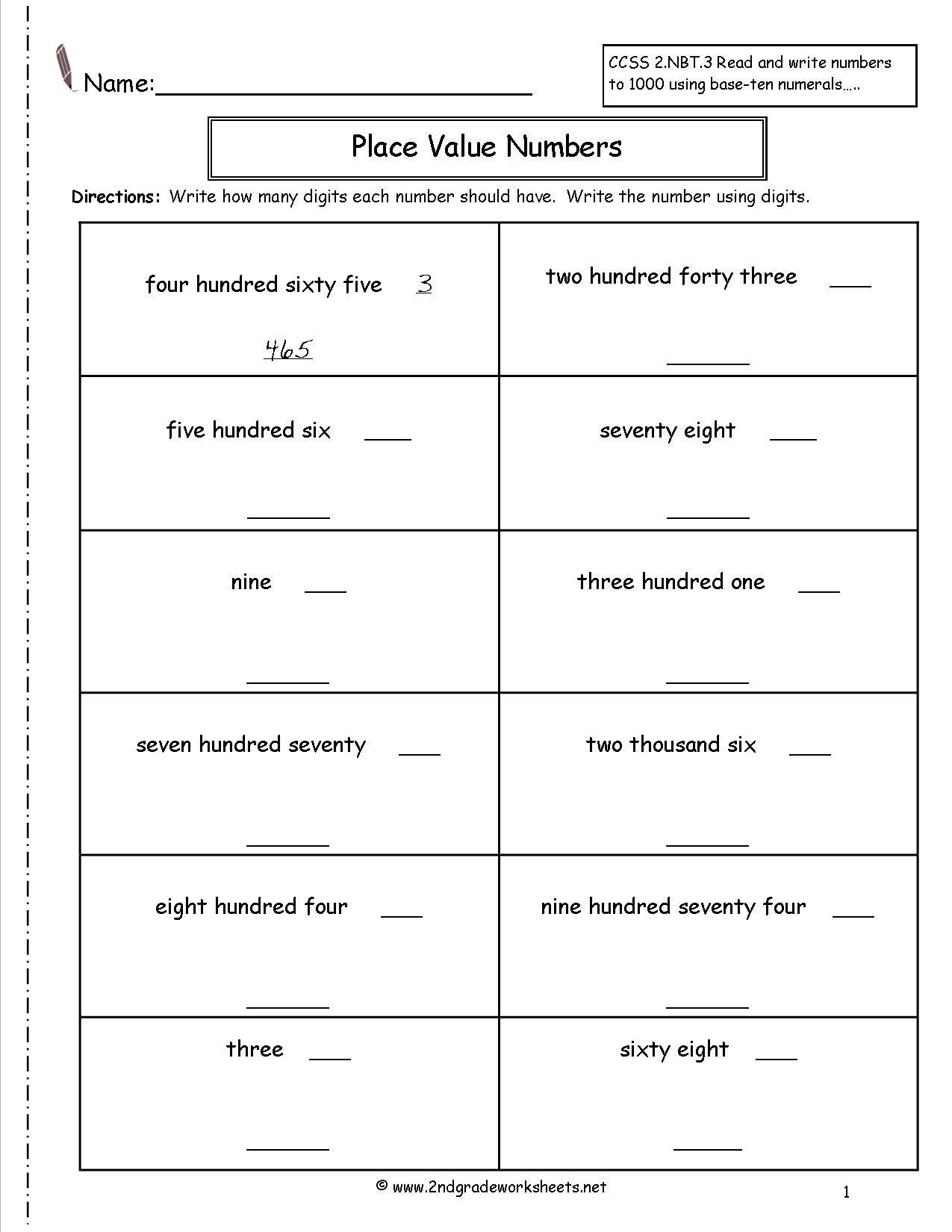 2nd Grade Place Value Worksheets Second Grade Place Value