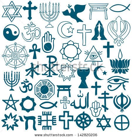 Blue Graphic Symbols Of Different Religions As Christianity Islam