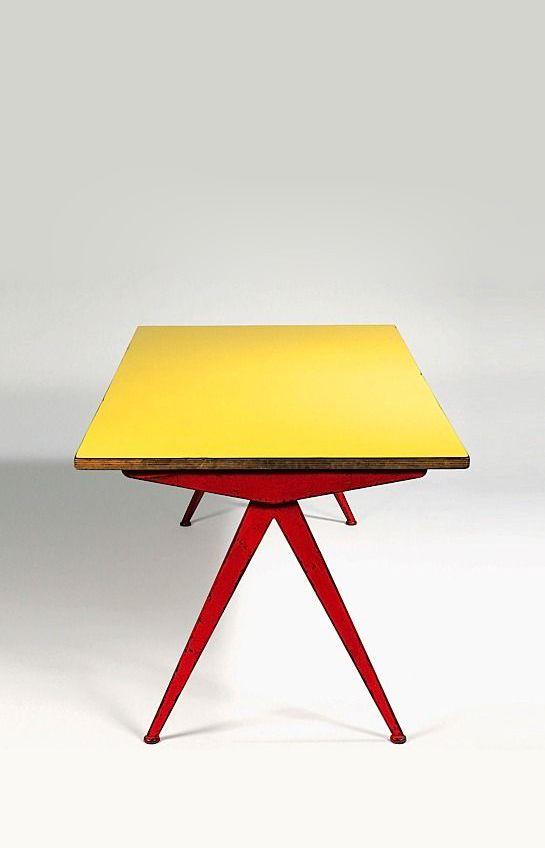Curved Compass Desk Jean Prouve France 1950 S H28 75 X L75 75 C
