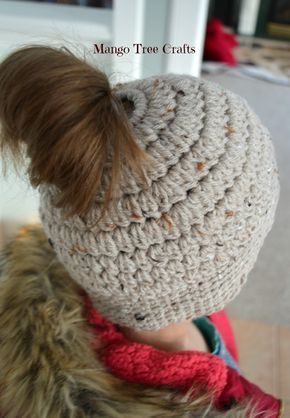 Messy Bun Hat Free Crochet Pattern Materials Used Hair Tie About