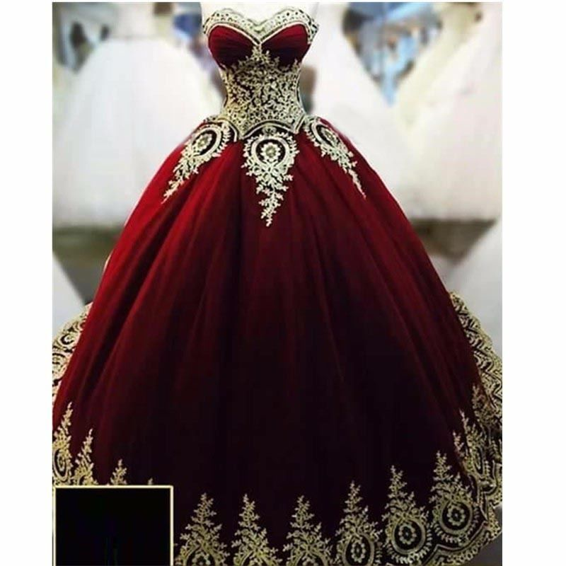 Ball Gowns Evening Dresses Dark Red With Gold Applique Quinceanera