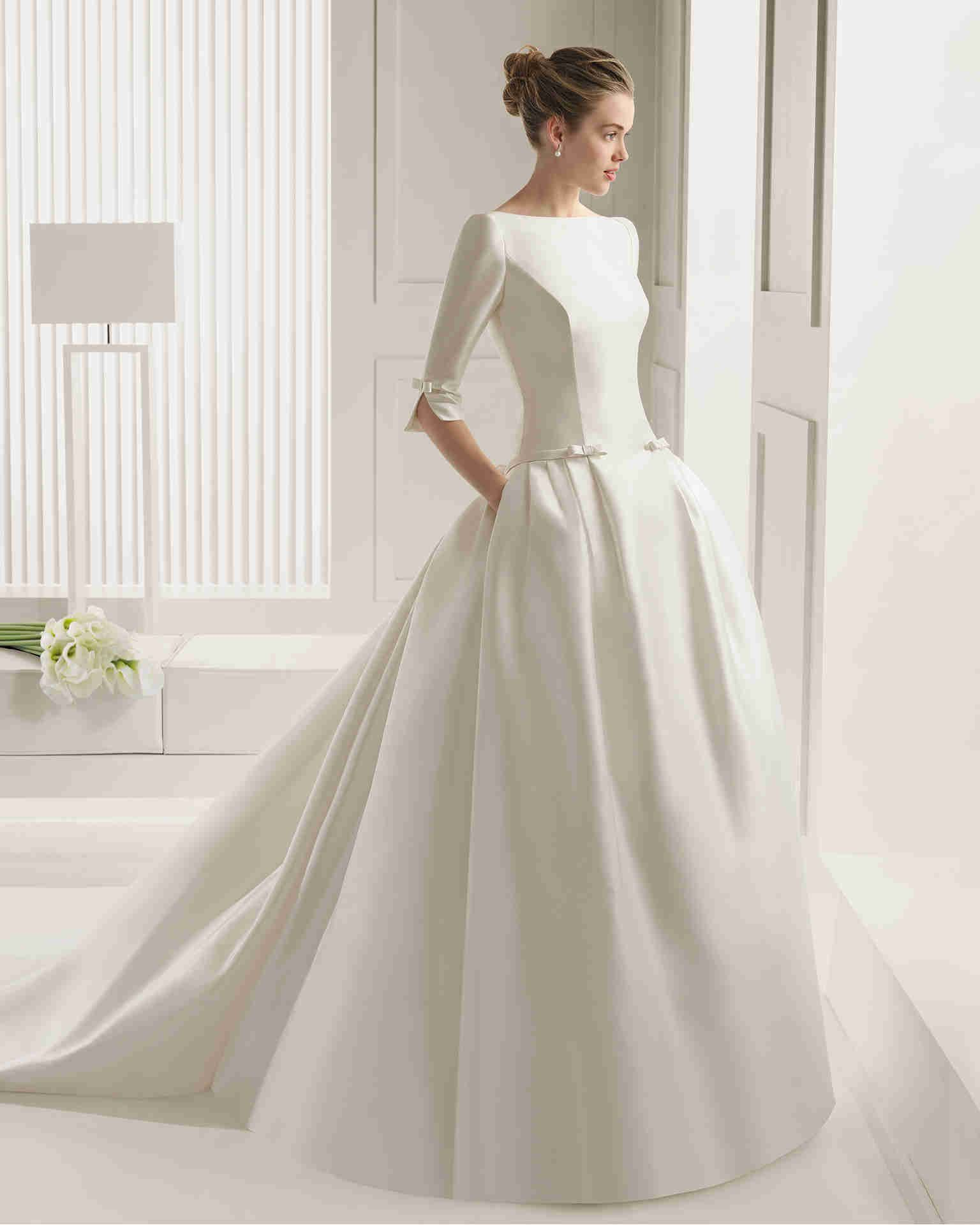 wishesbridal classic v neck half sleeve ballgown weddingdress