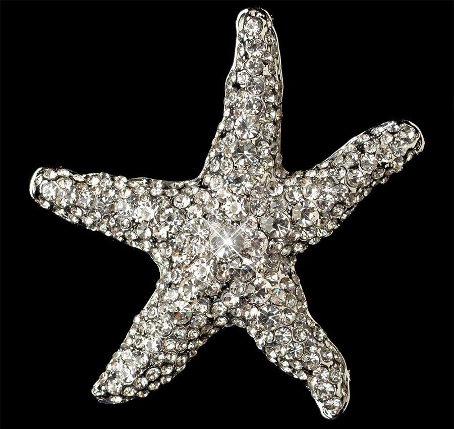 Starfish Bridal Wedding Brooch with Crystal Rhinestones