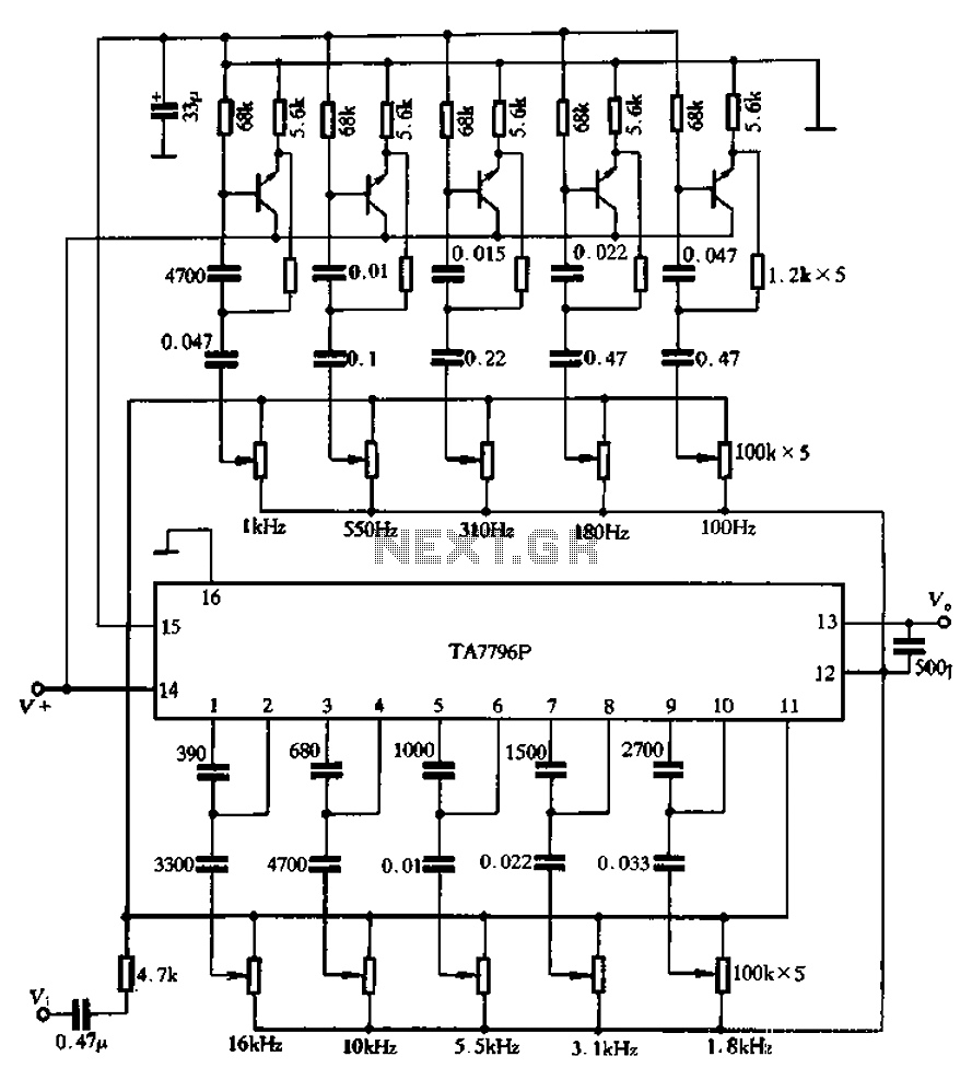hight resolution of using an external transistor ten band equalizer schematic