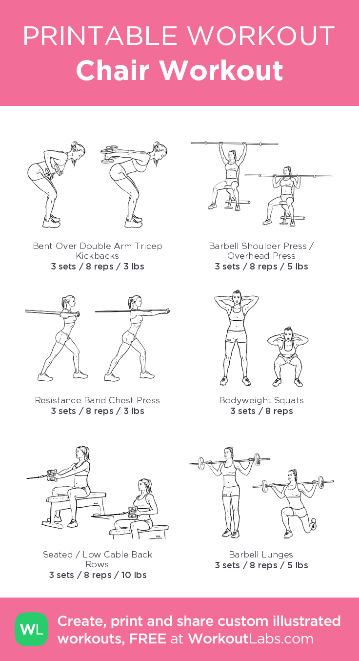 Chair Workout Illustrated Exercise Plan Created At Workoutlabs Com Click For A Printable Pdf And To Build Your O Chair Exercises Printable Workouts Workout