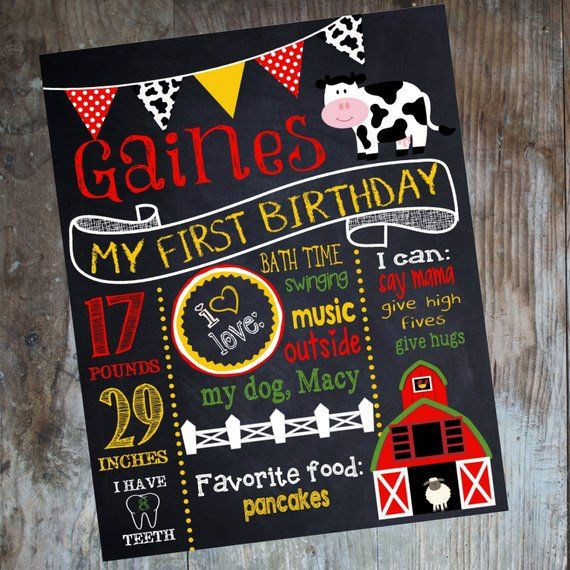 farm birthday sign cow first birthday chalkboard custom poster