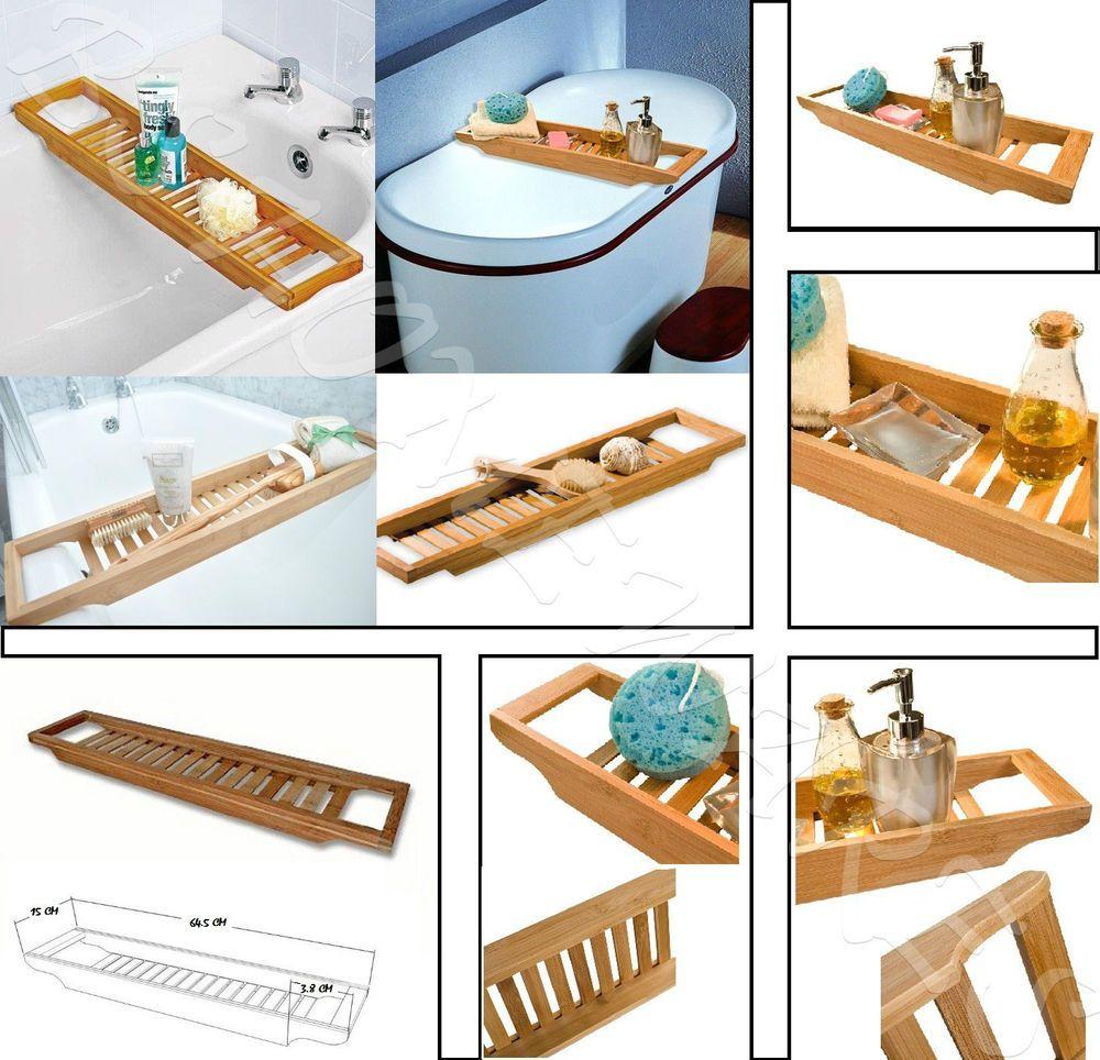 Bamboo Over Bath Rack Tidy Tub Shower Caddy Tray Bath Storage Stand ...