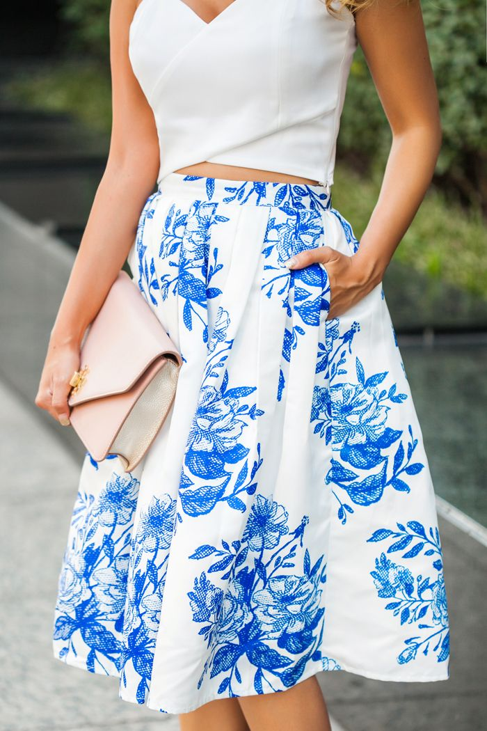 Our blue floral sketch pleated skirt is the perfect semblance of ...