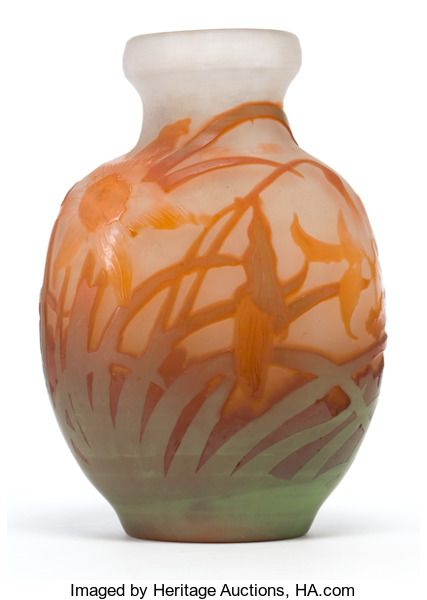 Art Glassgalle Galle Glass Vase White Glass Vase With Green And