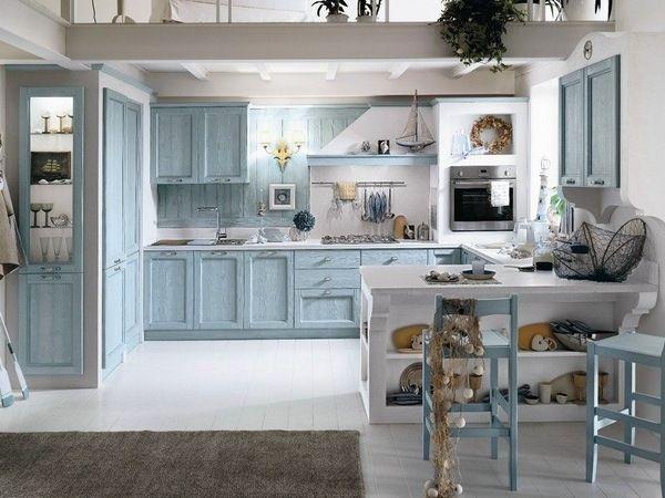 Mediterranean Kitchen Design Ideas Blue White Interior Wood Cabintes