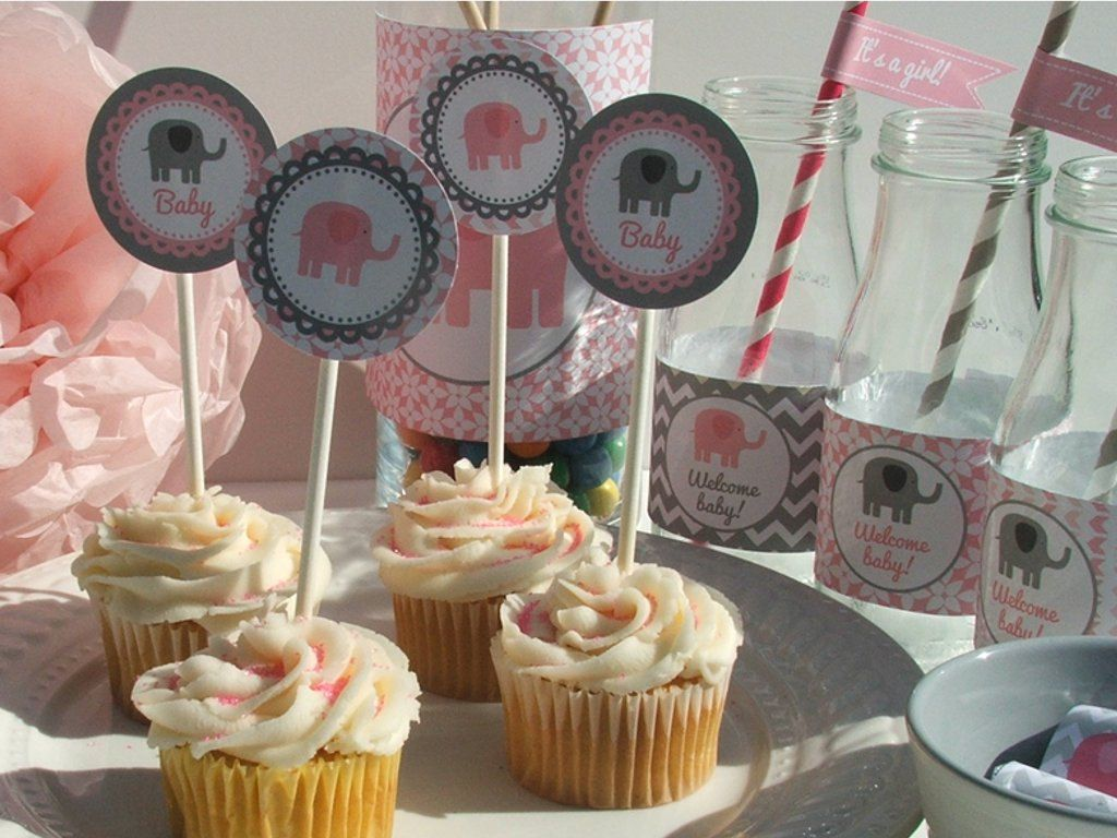 Elephant Baby Shower Decorations Pink Gray Baby By BusyChickadees