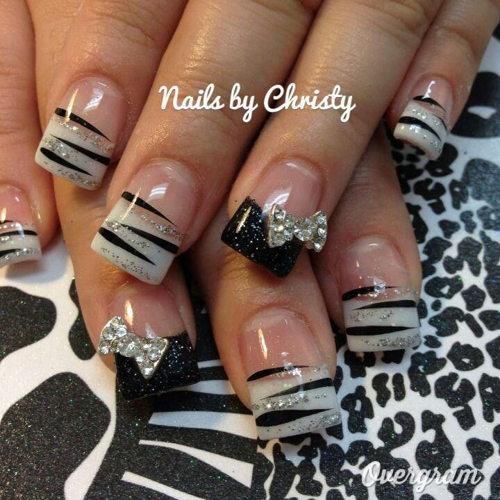 zebra & bow nails georgous