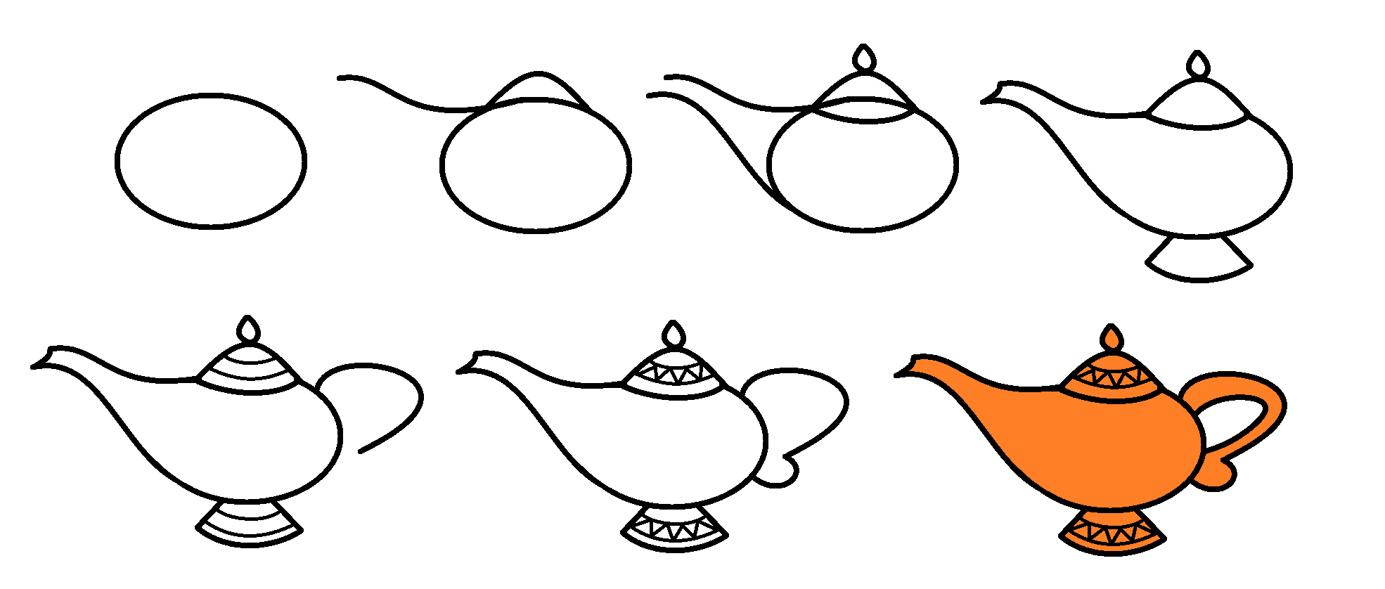 Step by step for drawing the genie lamp from the movie aladdin