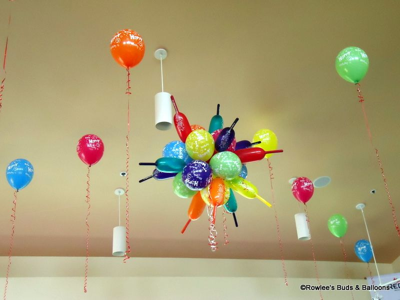 Balloon ceiling decorations dr seuss party ideas for Balloon decoration for ceiling