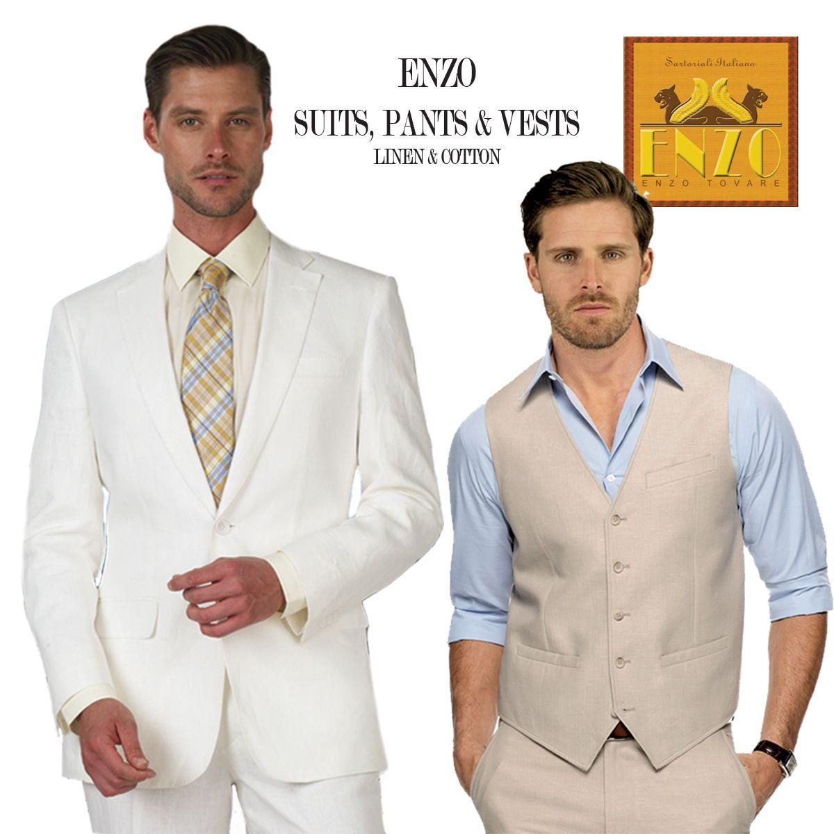 Enzo Linen Suits Pants Vests Suits Linen Suit Italy Fashion