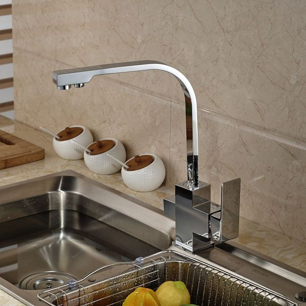 Brushed Nickel Single Lever Rotation Spout Kitchen Sink Faucet Hot And Cold Water Kitchen Tap Deck Mount Kitchen Sink Taps Kitchen Sink Faucets Kitchen Faucet