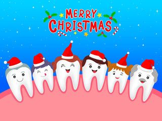 Happy cute cartoon tooth family characters with Santa hat. Dental care concept. Merry Christmas and happy new year, Illustration on blue background. #dentalcare