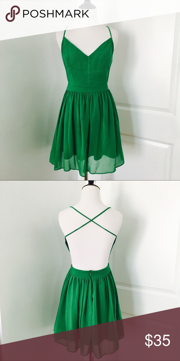 9f287ee18d07 Asos Backless Green Dress Super cute green colored dress with a strappy  Back Size fits a
