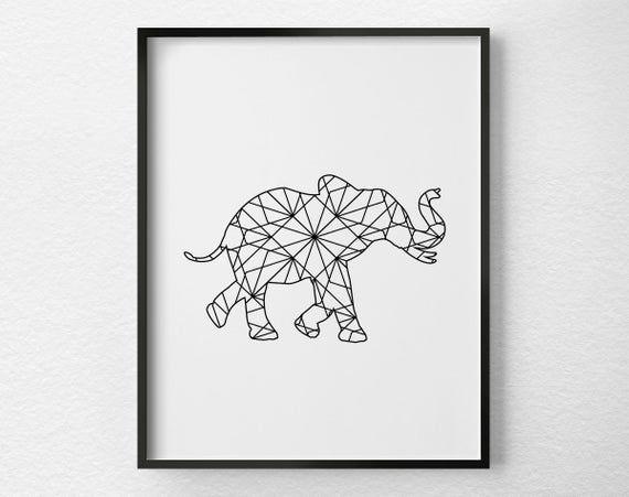 Minimalist Elephant Drawing: Elephant Decor Elephant Print Geometric Elephant Art