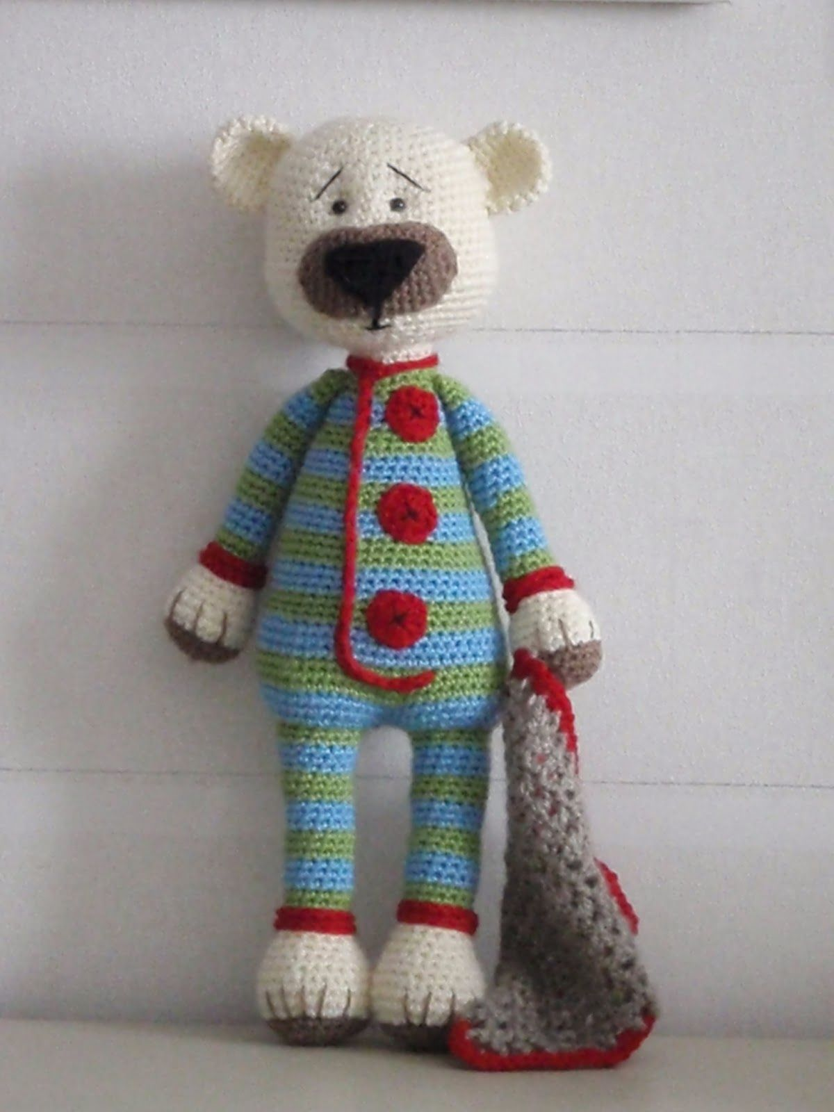 Nils the bear monitejidos pinterest bears amigurumi could do this with any doll or teddy bear pattern just change colors on the body legs and arms and add the details bankloansurffo Choice Image