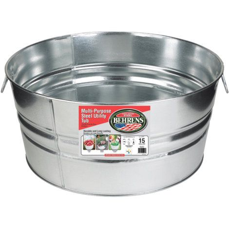 Behrens 15 Gal Galvanized Round Tub By Behrens At Fleet Farm Galvanized Wash Tub Steel Tub Galvanized Tub