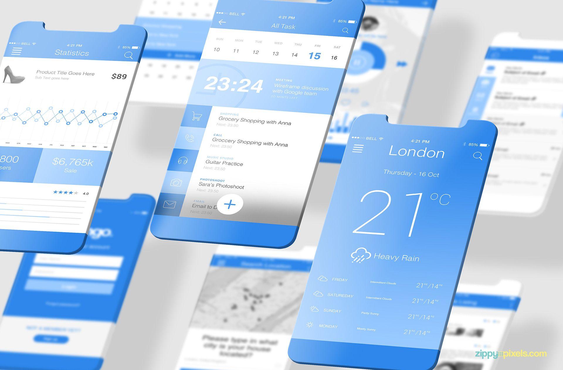 2 Free Latest Ios App Mockups Zippypixels Ios App Ios App Design Latest Ios