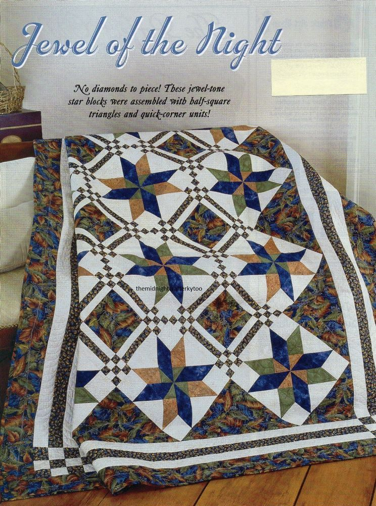 Details about Jewel Of The Night Quilt Pattern Pieced RC | Quilt ... : shadowed daisy quilt pattern free - Adamdwight.com